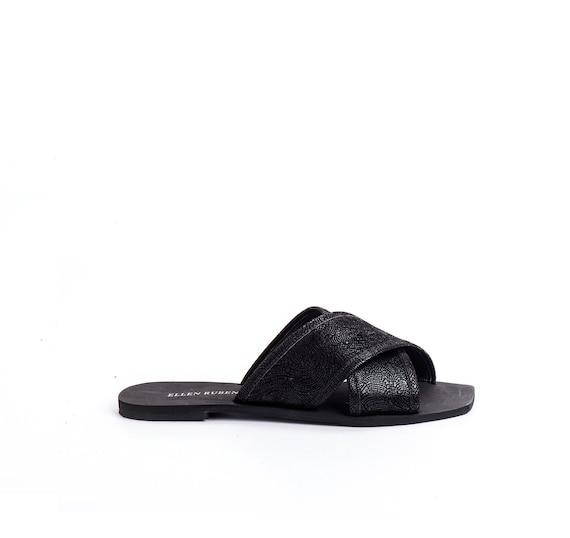 Sandals Shoes Shoes On Black Criss Women's Cross Sandals Sandals Sandals Vegan Slide Sandals Vegan Fabric Sandals Slip Sandals Flat qgOZxUx