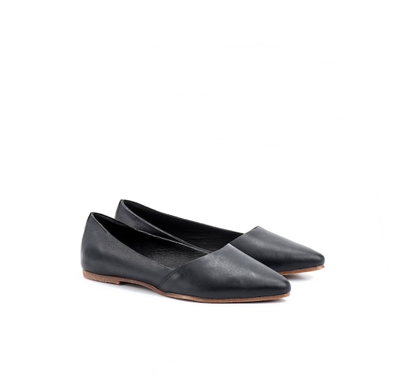 Handmade Shoes Black Flat On Shoes Leather Shoes Shoe Shoes Barcelona Slip Summer Shoes Women's Evening Toe Flat Pointed Shoe rErZq