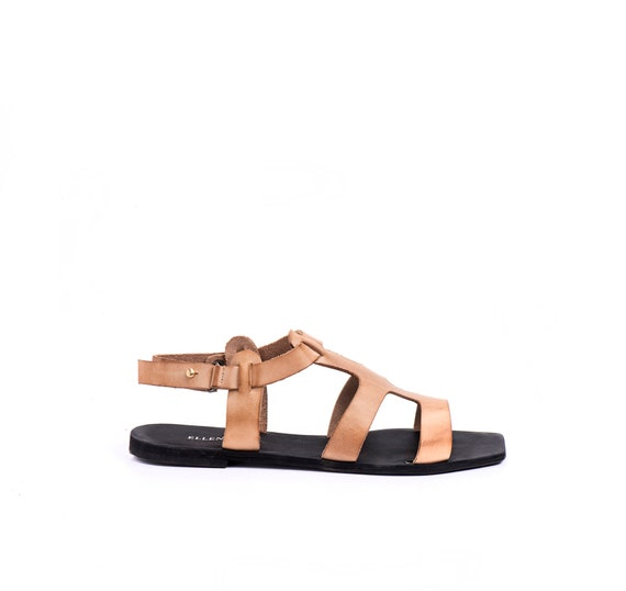 Shoe Sandals Sandal Sandals Strap Leather Sandal Shoes Women's Beige Sandals Sandals Summer Flat Sandals Sandals Greek Boho Summer 5TZxxWwqX