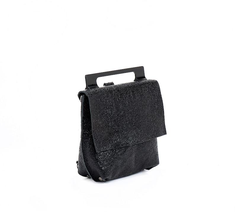 Messenger Bag Side Bag Small Bag Black Leather Bag Christmas Gift Metallic Leather Backpack Black Clutch Bag Backpack For Women