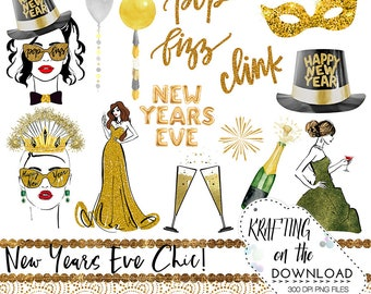 watercolor new years eve clipart set new year planner girl clip art new years eve planner girl png file watercolor new year png files