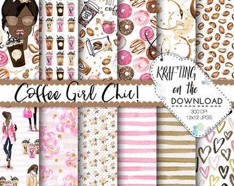 watercolor coffee paper pack watercolor coffee digital paper coffee paper pack watercolor coffee girl african american planner girl papers