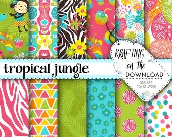luau digital paper with jungle digital paper tropical jungle zoo digital paper luau digital papers with flamingo monkey giraffe scrapbooking