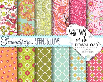 Spring Paisley Digital Paper Pack Shabby Chic Pink Olive Green Aqua Paisley Scrapbooking Papers Coral Floral Preppy Instant Download