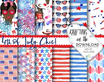 watercolor 4th of july paper watercolor fourth of july paper pack watercolor summer fashion papers july fashion paper pack african american