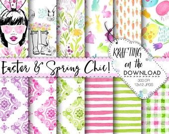 watercolor easter digital paper watercolor easter paper pack watercolor spring floral papers watercolor spring flowers digital paper pack