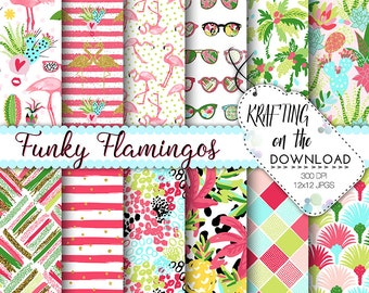 flamingo paper pack tropical paper pack summer paper pack flamingo digital paper summer flamingo papers tropical paper pack