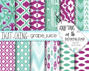 ikat digital paper purple teal instant download summer paper pack purple and teal mint digital paper, digital paper packs cute ikat paper