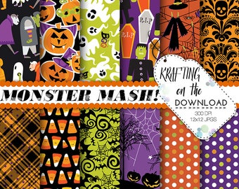 halloween paper pack halloween digital paper monster paper pack halloween scrapbooking papers halloween party papers halloween background