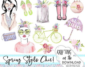 watercolor spring fashion clipart png file spring fashion clip art set watercolor planner girl png spring fashion planner girl clipart