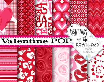 valentine paper pack with pink rose digital paper hearts paper pack lips pink red valentines paper pack hearts digital papers xoxo love