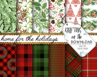 christmas paper pack buffalo plaid digital paper plaid paper pack holiday plaid paper pack christmas tartan papers plaid background
