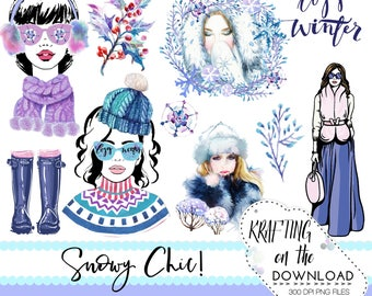 winter fashion clipart png file watercolor winter fashion clip art set watercolor winter planner girl png winter planner girl clipart