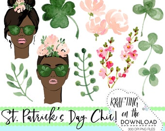 watercolor st patricks day clipart png file watercolor st patrick's day clip art set watercolor shamrock png file african american