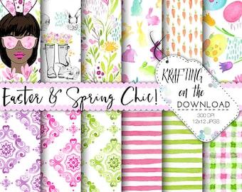 watercolor easter digital paper watercolor easter paper pack watercolor spring floral papers watercolor spring flowers medium skin tone