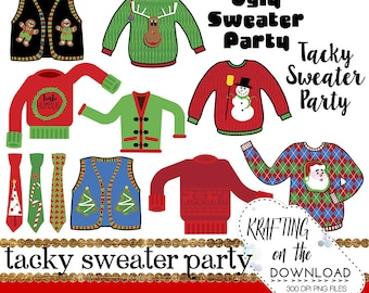 tacky sweater clipart set ugly sweater clip art png file holiday sweater clip art set tacky sweater png file christmas sweater clipart set
