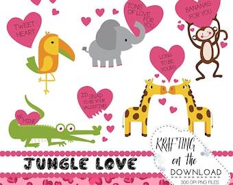 valentine clipart set jungle love clip art set plus BONUS files! Free digital paper valentine hearts jungle clipart for valentine's day png