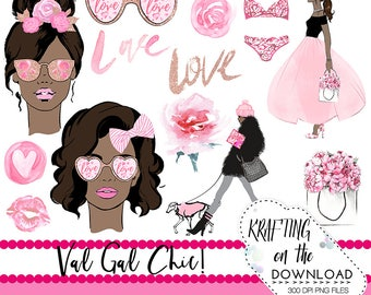 watercolor valentines day clipart png file watercolor valentine's day clip art set watercolor medium skin tone planner girl png file