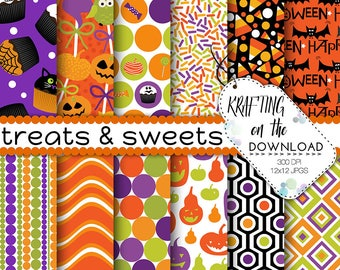 halloween paper pack halloween digital paper trick treat paper pack halloween scrapbooking paper halloween candy papers halloween background