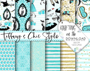 watercolor breakfast at tiffany paper pack watercolor tiffany's digital paper watercolor fashion teal black papers watercolor tiffanys paper