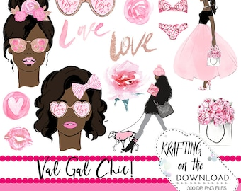 watercolor valentines day clipart png file watercolor valentine's day clip art set watercolor african american planner girl png file