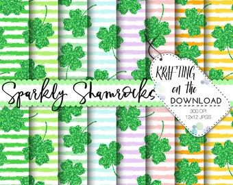 st patricks day digital paper glitter shamrock paper pack sparkly shamrock for st patrick's day digital papers mint green