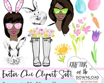 watercolor easter spring clipart png file watercolor floral clip art set watercolor spring fashion clipart png files medium skin tone