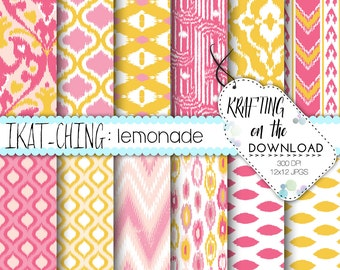 pink lemonade digital paper pack ikat digital paper pack blush summer paper pack blush pink lemon yellow lattice chevron scrapbooking paper