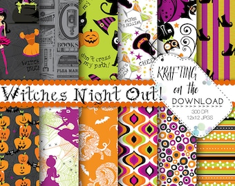 halloween paper pack halloween digital paper halloween witch paper pack halloween scrapbooking papers halloween party papers