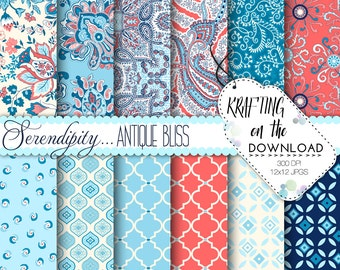 Antique Bliss Paisley Digital Paper Pack Shabby Chic Coral Blue Navy Scrapbooking Papers Pale Blue Aqua Floral Preppy Instant Download