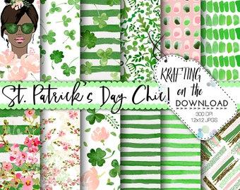 watercolor st patricks day digital paper watercolor st patrick's day paper pack watercolor shamrock papers medium skin tone