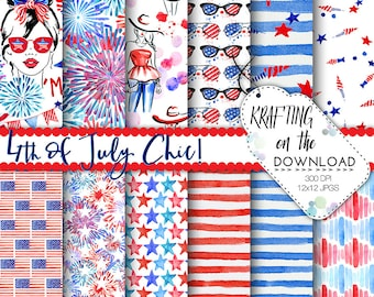 watercolor 4th of july paper watercolor fourth of july paper pack watercolor summer fashion papers july watercolor fashion paper pack