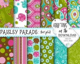 elephant paper pack paisley paper pack boho floral boho chic paisley scrapbooking papers pink green teal, digital paper packs downloadable