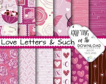 valentine paper pack romantic love paper pack stamps valentines paper hearts love digital paper pink rose digital paper pastel pink paper