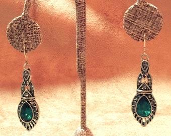 Earrings Art Deco Design Sterling Silver Earwires Tear Drop Faux Emerald Stone CL1403