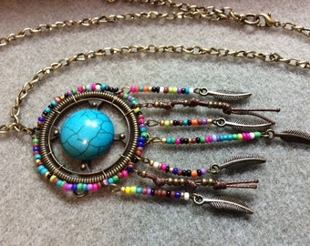 Boho Southwest Pendant Antique Brass Chain Feather dangles Acrylic Turquoise Cabochon Seed Beads CL1624B