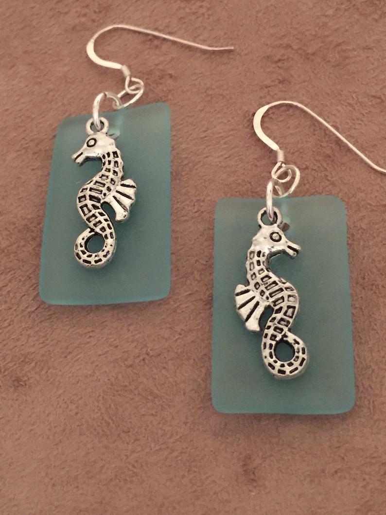 Sea Horse Earrings Sea Glass Sterling Silver Earwires Dangle Drop   Beach CL1644