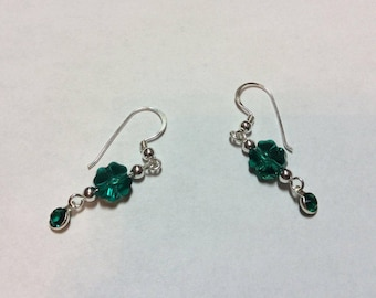 Earrings Lucky Four Leaf Clover Swarovski Crystal Sterling Silver Earwires SS Beads Channel Set Dangles CL1627