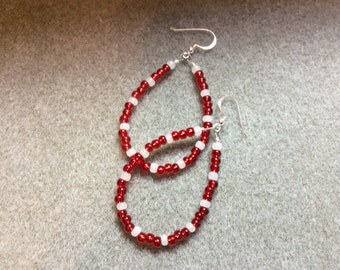 Sterling Silver Ear wires Red White Seed Bead Teardrop loops  CL1618G