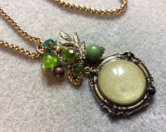 Pendant Necklace  Mixed Media Wheat Chain Leaves Acrylic Beads Antique Bronze  CL1624