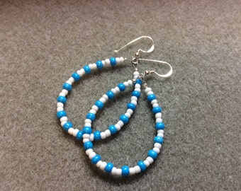 Sterling Silver Hoop Earrings Loops Bright Turquoise White Seed Beads CL1618B