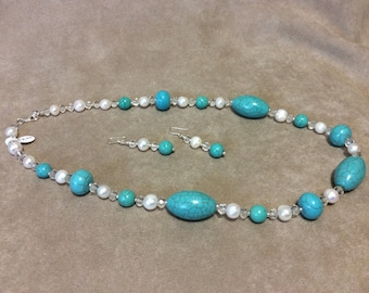 SALE Turquoise Beads Fresh Water Pearls Crystals Necklace Sterling Silver Earrings set   CL1558