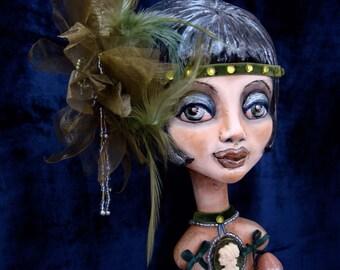 Flapper doll OOAK - Art Deco interior figurine - Gatsby style poseable doll as gift - Roaring 20s art doll