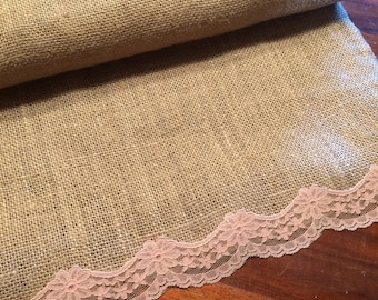 Set of 10 premium burlap table runners with white/peach lace accents.8ft long with serged edges. Vintage  lace. Country barn wedding theme