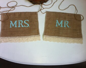 SALE!!! Mr. & Mrs. Burlap and crochet chair  sings- Ready to ship!!