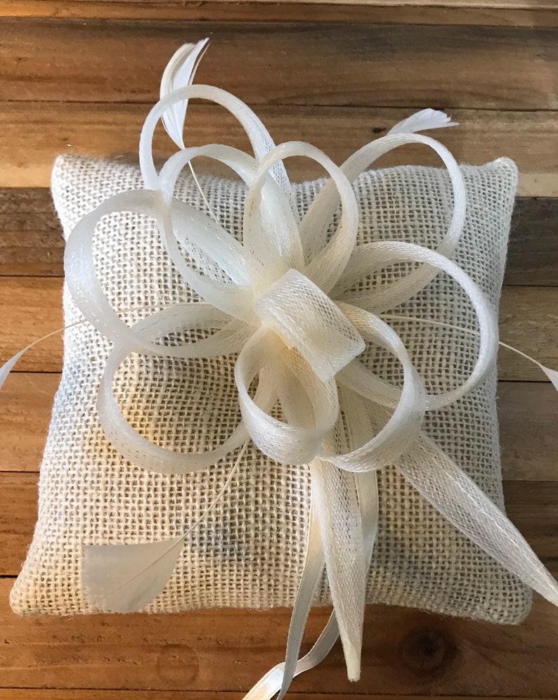 Ring bearer pillow cream burlap.Chic wedding ring bearer image 0