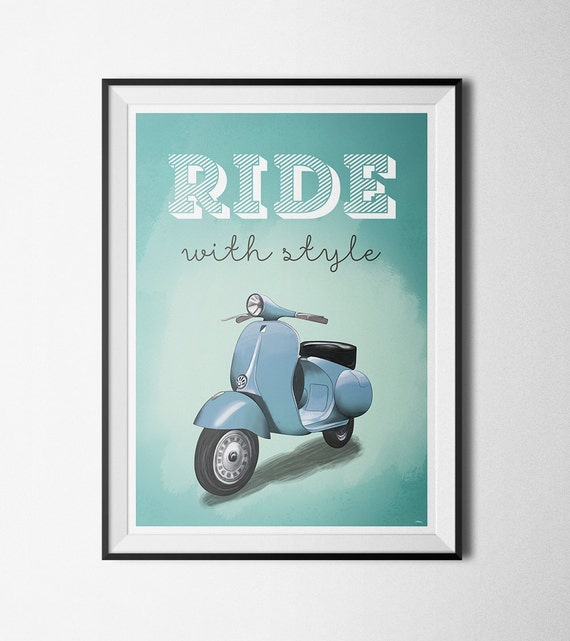 Vespa Motorcycle Advertising Poster A3 Reprint