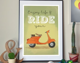 Wall poster Enjoy life & ride your Vespa, A2 or A3+ print, illustration, vespa, scooter, roadtrip, motorcycle, vintage, retro, old, freedom
