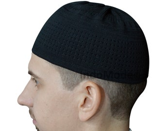 3e256acfa4d TheKufi Soft Black Cotton Stretch-knit Kufi Hat Skull Cap Topi Beanie