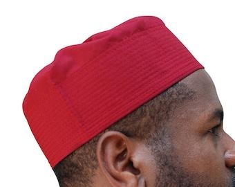 Maroon Pleated-top Solid Color Fabric Kufi Prayer Scul Cap Kufi Hat Tabligh  Topi b76925adc012